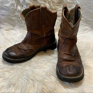 ARIAT FATBABY Low Cowboy Boots 8B BrownFLAWS-READ